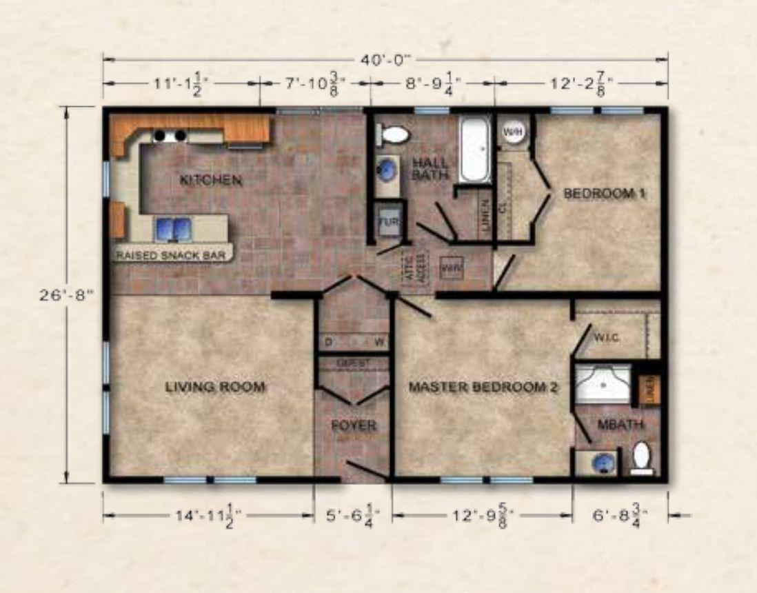 Crowne 019 Ranch Modular Home U2013 1067 SF U2013 2 Bed 2 Bath