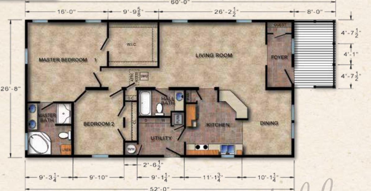 Crowne 502 Ranch Modular Home 1 456 Sf 3 Bed 2 Bath