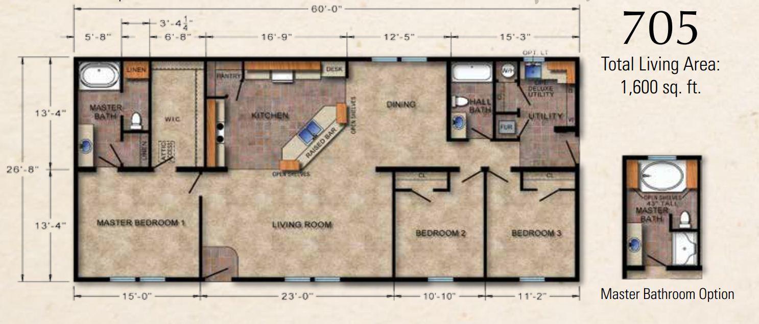 Crowne 705 Ranch Modular Home 1 680 Sf 3 Bed 2 Bath
