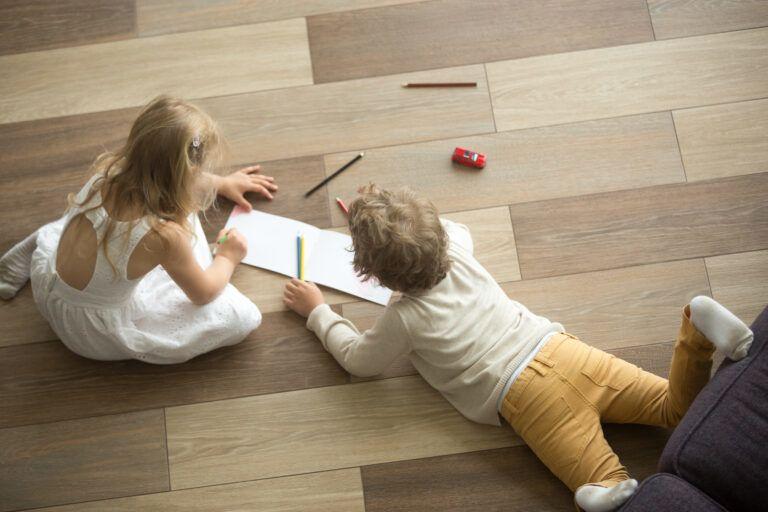 kids playing on hardwood floor